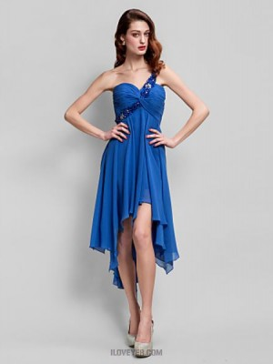 A Line Sexy One Shoulder Asymmetrical Georgette Australia Cocktail Party Homecoming Prom Dress with Beading