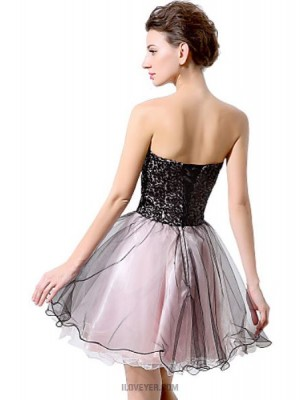 Ball Gown Sweetheart Short Mini Chiffon Australia Cocktail Party Prom Dress with Sequins