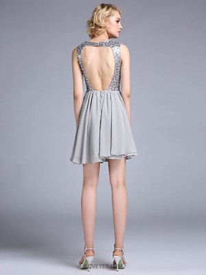 A Line Jewel Neck Short Mini Chiffon Australia Cocktail Party Prom Dress with Beading Criss Cross Ruching Sequins