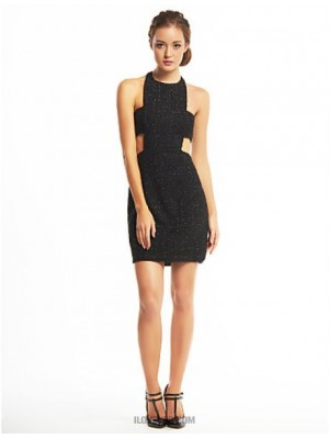 Sheath Column Halter Short Mini Polyester Sequined Australia Cocktail Party Prom Dress with Sequins