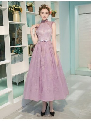 A Line High Neck Tea Length Lace Satin Tulle Rehearsal Dinner Australia Cocktail Party Dress withBeading Bow Lace Pearl Detailing Sash Ribbon