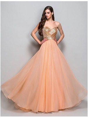 A Line Princess Strapless Sweetheart Floor Length Chiffon Prom Dress with Draping