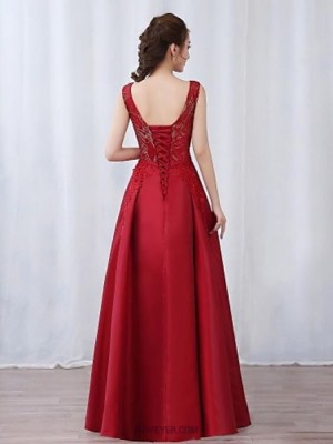 A Line V neck Floor Length Satin Sequined Prom Dress with Bow