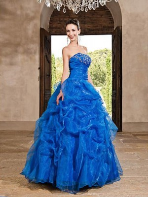A Line Strapless Floor Length Organza Prom Dress with Beading