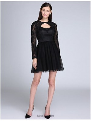 A Line Jewel Neck Short Mini Lace Satin Tulle Australia Cocktail Party Homecoming Prom Dress with Lace