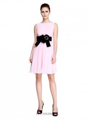 A Line Scoop Neck Short Mini Chiffon Australia Cocktail Party Homecoming Prom Dress with Beading Flower