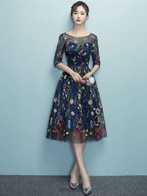 A Line Scoop Neck Tea Length Lace Tulle Prom Dress with Embroidery