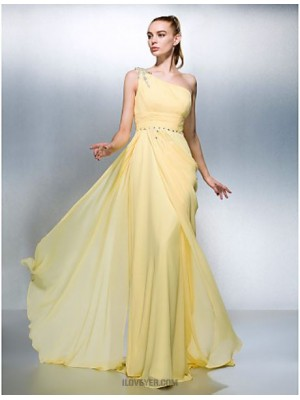 Sheath Column Sexy One Shoulder Sweep Brush Train Georgette Prom Dress with Beading
