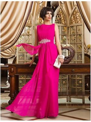 Sheath Column Bateau Neck Floor Length Chiffon Prom Dress with Beading