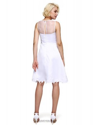 A Line High Neck Knee Length Satin Australia Cocktail Party Homecoming Prom Dress with Appliques