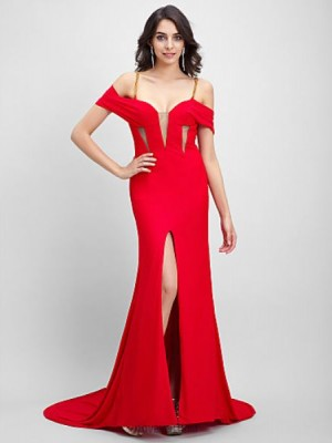 Mermaid Trumpet Sexy One Shoulder Court Train Jersey Australia Formal Evening Dress with Split Front