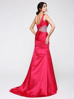 Mermaid Trumpet Sexy One Shoulder Sweep Brush Train Satin Australia Formal Evening Dress with Crystal Detailing Criss Cross