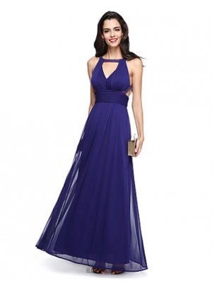A Line Jewel Neck Ankle Length Chiffon Australia Formal Evening Dress with Beading Sash Ribbon Side Draping Ruching
