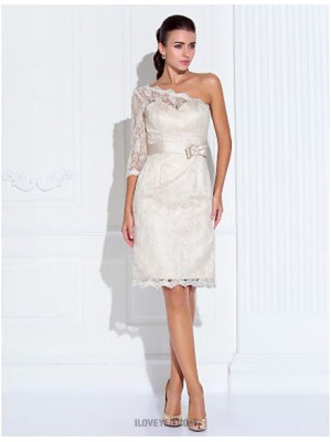 Sheath Column Sexy One Shoulder Sweetheart Knee Length Lace Homecoming Dress with Lace