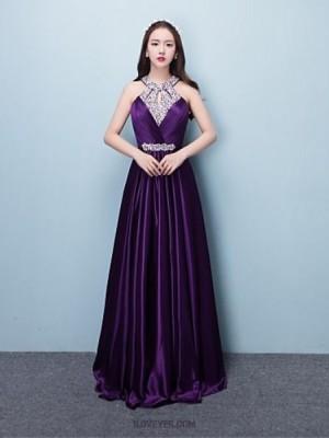 A Line Halter Floor Length Silk Prom Australia Formal Evening Dress with Beading Sequins