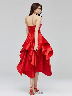 A Line Sweetheart Asymmetrical Satin Australia Cocktail Party Homecoming Dress with Beading Appliques Sash Ribbon Ruching