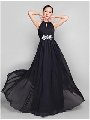 A Line High Neck Floor Length Chiffon Australia Formal Evening Military Ball Wedding Party Dress with Beading