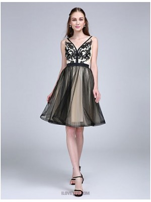 A Line V neck Knee Length Tulle Australia Cocktail Party Homecoming Prom Dress with Appliques Sash Ribbon