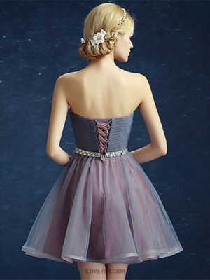 Ball Gown Strapless Short Mini Satin Tulle Prom Dress with Sequins