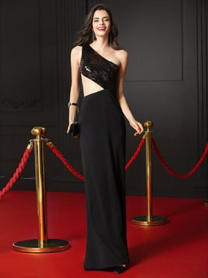 Mermaid Trumpet Sexy One Shoulder Floor Length Chiffon Sequined Prom Australia Formal Evening Dress with Sequins