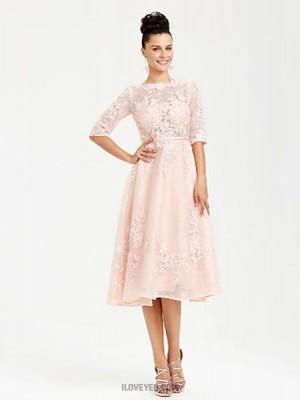 A Line Bateau Neck Tea Length Lace Australia Formal Evening Dress with Appliques Sash Ribbon