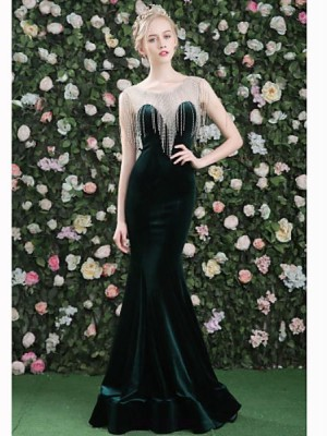 Mermaid Trumpet Jewel Neck Floor Length Tulle Velvet Evening Dress with Crystal