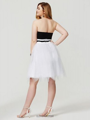 Princess Strapless Knee Length Satin Tulle Australia Cocktail Party Homecoming Dress with Sash Ribbon Pleats
