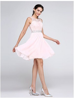 A Line Jewel Neck Knee Length Chiffon Lace Australia Cocktail Party Homecoming Prom Dress with Beading Lace