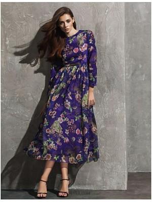 A Line Jewel Neck Tea Length Chiffon Australia Formal Evening Dress with Pattern Print