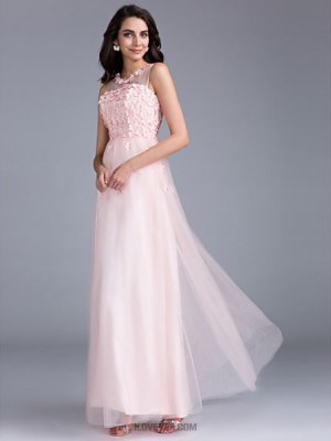 A Line Bateau Neck Floor Length Tulle Prom Australia Formal Evening Holiday Family Gathering Dress with Beading Flower