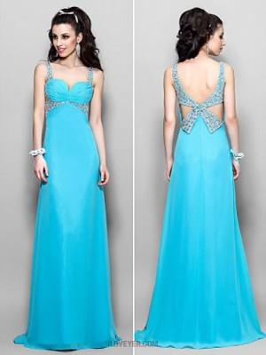 A Line Princess Sweetheart Straps Floor Length Chiffon Prom Dress with Beading