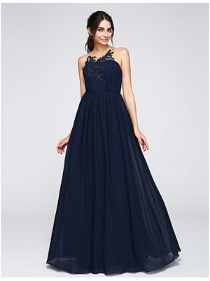 A Line Jewel Neck Floor Length Chiffon Australia Formal Evening Dress with Appliques Buttons Draping