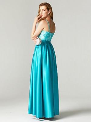 A Line Spaghetti Straps Floor Length Lace Satin Australia Formal Evening Dress with Beading Bow Pockets Sash Ribbon Pleats