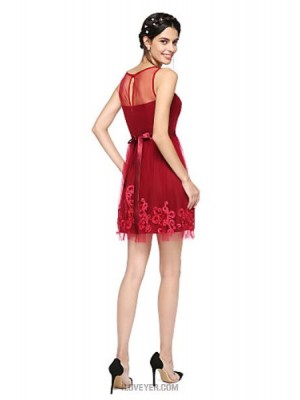 A Line Jewel Neck Short Mini Tulle Australia Cocktail Party Homecoming Prom Dress with Appliques Bow Sash Ribbon