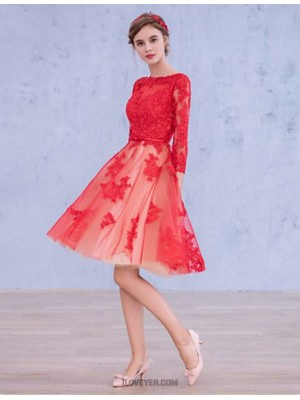 A Line Bateau Neck Knee Length Satin Tulle Prom Dress with Appliques