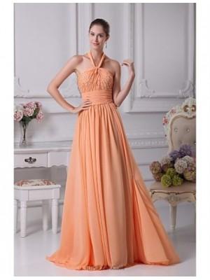 A Line Halter Floor Length Chiffon Prom Australia Formal Evening Dress with Beading Pleats