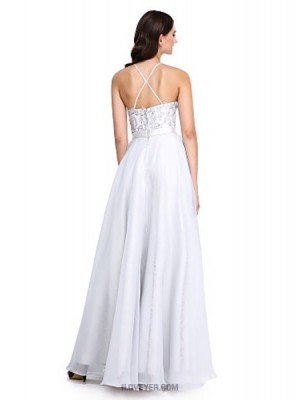 A Line Jewel Neck Floor Length Lace Organza Bridesmaid Dress with Beading Appliques Sash Ribbon