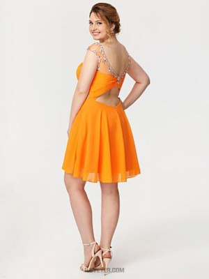 A Line Scoop Neck Knee Length Chiffon Australia Cocktail Party Homecoming Dress with Crystal Detailing Criss Cross Ruching Pleats