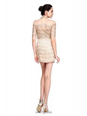 Sheath Column High Neck Short Mini Tulle Australia Cocktail Party Prom Dress with Sequins