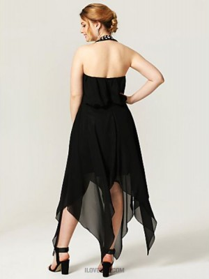 A Line Halter Asymmetrical Chiffon Australia Cocktail Party Homecoming Dress with Crystal Detailing Pleats