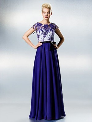A Line Jewel Neck Floor Length Chiffon Lace Prom Dress with Lace