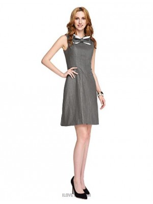 A Line Jewel Neck Short Mini Jersey Australia Cocktail Party Homecoming Prom Dress with Bow Lace