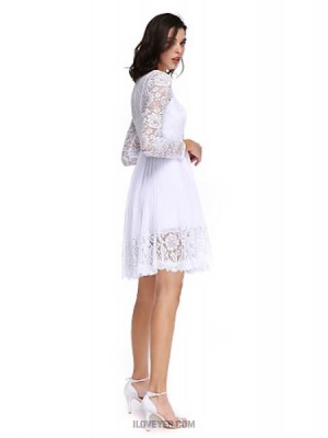 A Line High Neck Knee Length Chiffon Lace Australia Cocktail Party Homecoming Prom Dress with Draping