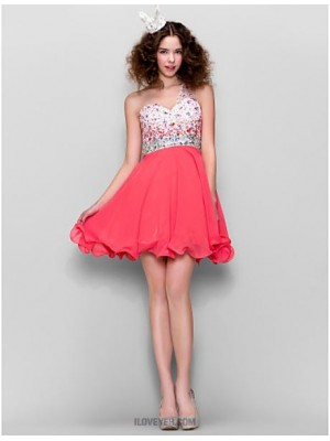 A Line Sexy One Shoulder Short Mini Chiffon Homecoming Prom Dress with Beading