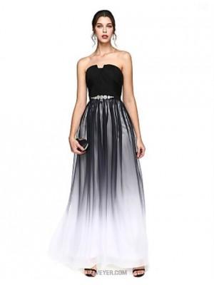 A Line Notched Floor Length Chiffon Prom Australia Formal Evening Dress with Beading Draping Sash Ribbon Criss Cross