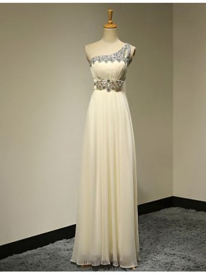 A Line Sexy One Shoulder Floor Length Chiffon Australia Formal Evening Dress with Beading