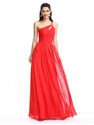 A Line Sexy One Shoulder Floor Length Chiffon Prom Australia Formal Evening Dress with Ruching Side Draping