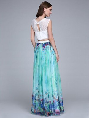 A Line Jewel Neck Floor Length Chiffon Lace Bridesmaid Dress with Lace