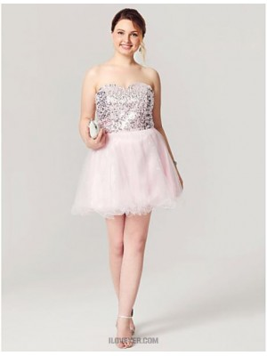 A Line Sweetheart Short Mini Tulle Sequined Australia Cocktail Party Homecoming Dress with Sequins Pleats