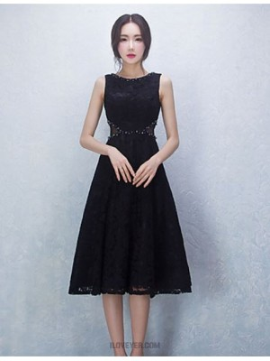 Ball Gown Jewel Neck Knee Length Lace Satin Australia Cocktail Party Homecoming Dress with Beading
